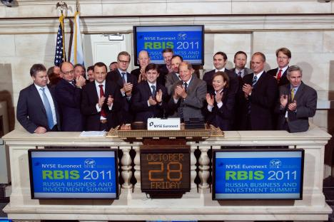 Participants of the Russia Business and Investment Summit at the closing bell. Source:Valerie Caviness