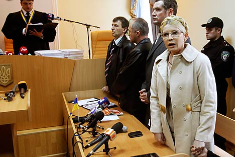 Ukrainian ex-prime minister Yulia Tymoshenko speaks during a session at the Pecherskiy district court in front of judge Rodion Kireyev in Kiev October 11, 2011. Source: Reuters / Vostock Photo