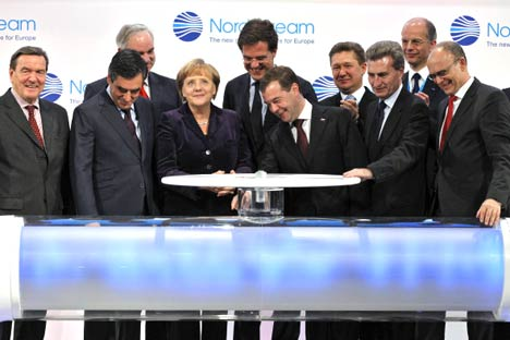 Russian President Dmitry Medvedev and German Chancellor  Angela Merkel are inaugurating the Nord Stream pipeline. Source: RIA-Novosti