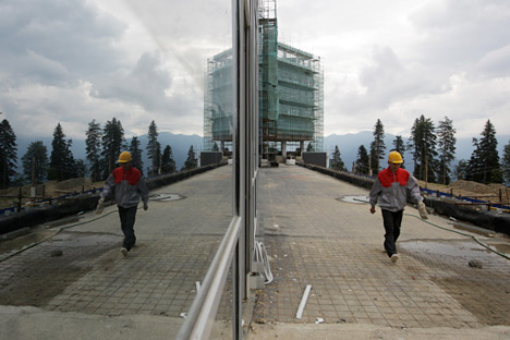 Construction of Olympic facilities in Krasnaya Polyana. Source: RIA-Novosti