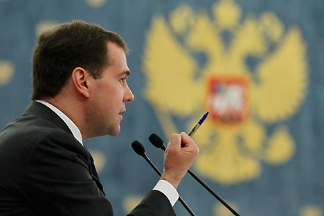 Russia's outgoing President  Dmitry Medvedev is going to come up with new policy roadmap to withstand the corruption. Source: Reuters