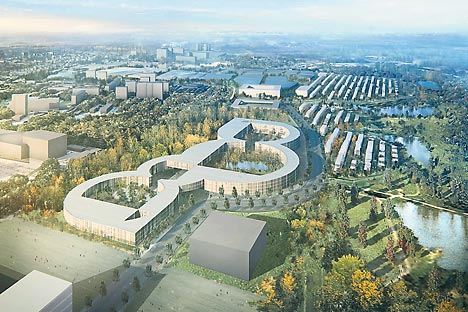 An architect's rendering of the innovation city of Skolkovo. In addition to research facilities, the campus will include housing for scientists. Source: Press Photo
