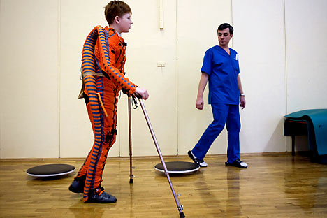 A job of the social worker will be in demand in Russia in the near future, experts said. Pictured: A rehabilitation center for children with  the paralysis syndrome in Moscow. Source: ITAR-TASS