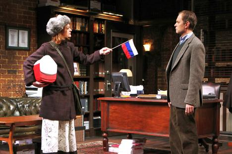 Colby Minifie, left, refuses to speak English with her Dad, Paul, played by David Hyde Pierce. Photo credit Joan Marcus