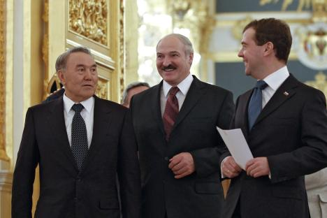 United front: the three presidents, Nursultan Nazarbayev, Alexander Lukashenko and Dmitry Medvedev. Source: Reuters