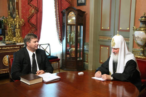 Patriarch Kirill meeting with Russian Justice Minister Alexander Konovalov. Source: Press Photo