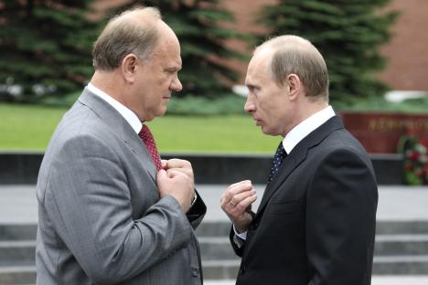 Head to head: Vladimir Putin, right, takes issue with Gennady Zyuganov, his main rival in the 2012 presidential election. Source: AP