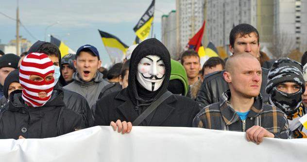 The Russian nationalists clamoured against illegal immigration during the demonstrations on National Unity Day. Source: Kommersant