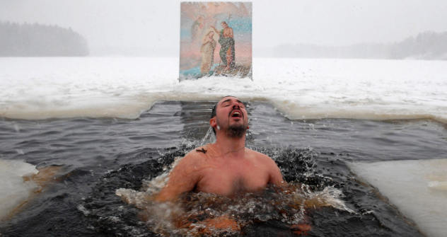A man bathing on the Orthodox Epiphany day. Source: ITAR-TASS