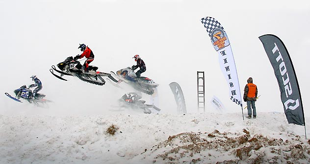 Snowcross is becoming popular in Russia. Pictured: Riders competing in a FIM Snowcross World Championship event at Semigorye in the Ivanovo Region on Feb. 25, 2012. Source: ITAR-TASS