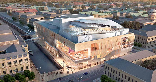The tender to build the Mariinsky Theater 's second stage  went to High-Rise and Underground Structures Design Bureau (HRUS DB), which teamed up with the Canadian architectural firm Diamond & Schmitt Architects. Source: Diamond Schmitt
