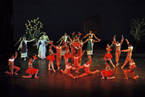 The School of Classical Russian Ballet (RCSC) in New Delhi on the stage of the Indian capital's premier concert hall Kamani