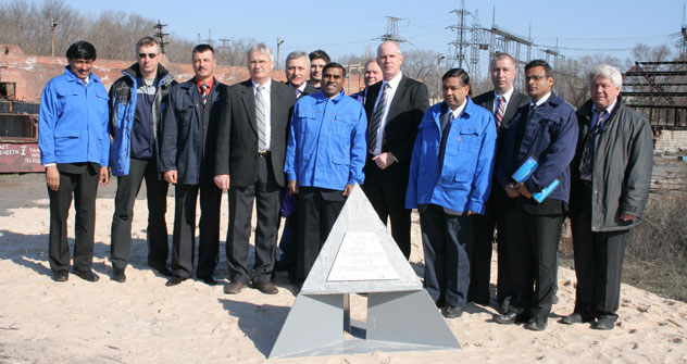 Indian and Russian partners lay the foundation stone for a new production facility for the production of silicon carbide. April, 2011.  Photo from personal archives