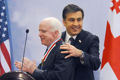 Georgian President Mikhail Saakashvili, right, and U.S. Sen. John McCain. Photo: AP