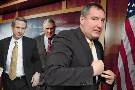 Republican senators Mark Kirk and Jon Kyl shown with Russian ambassador to NATO Dmitry Rogozin (right). Source: AP
