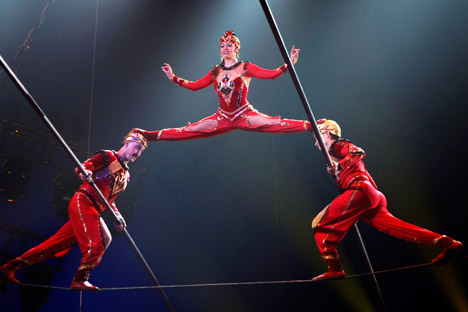 Russia's 'Tsisov' perform during the opening ceremony of the 33rd International Circus Festival. Source: AP