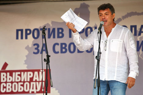 One of the co-founders of the PARNAS party Boris Nemtsov is giving his address. Source: RIA Novosti