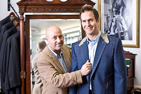 Michael Vaughan, being fitted for a suit at Stowers Bespoke by Ray Stowers in Saville Row. Source: Rex-Features/Fotodom