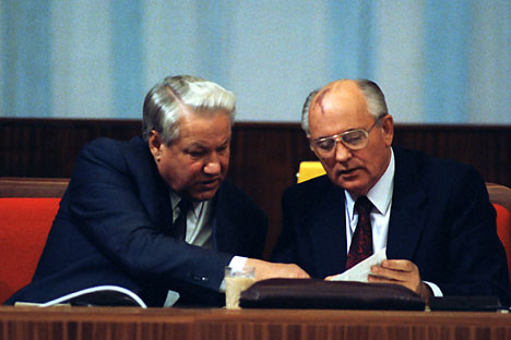Boris Yeltsin and Mikhail Gorbachev at the extraordinary fifth session of Peoples' Deputies of the Soviet Union On the 3rd Septemberб 1991. Photo: ITAR TASS