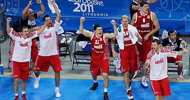 Players from Russia react after defeating Macedonia in the EuroBasket European Basketball Championship bronze medal match in Kaunas, Lithuania, Sunday, Sept. 18, 2011. Russia won the match 72-68. Source: AP
