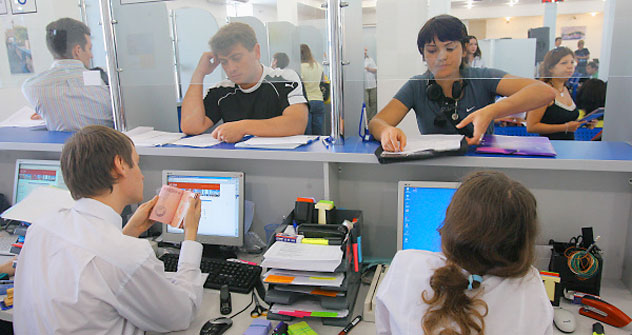 Applicants at the UK visa centre. Photo: RIA Novosti