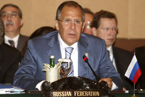 Russian Foreign Minister Sergay Lavrov attends an ASEAN-Russia Ministerial Meeting in in Nusa Dua, Bali on July 22, 2011 on the sideline of the 18th Association of Southeast Asian Nations (ASEAN) Regional Forum (ARF). Southeast Asian Foreign minister