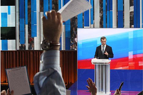 Dmitri Medvédev en la rueda de prensa en Skólkovo. Foto de RIA Novosti