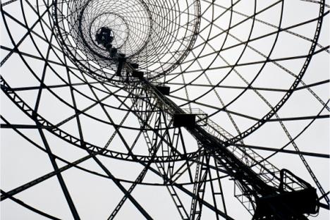 Torre Shábolovka, fotografía de Richard Pare. Moscú, 1998.