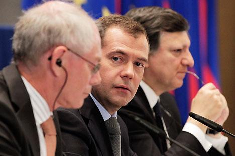 Dmitri Medvédev encabezó la delegación rusa en la 27ª edición de la cumbre Rusia-UE. Foto de Itar-Tass