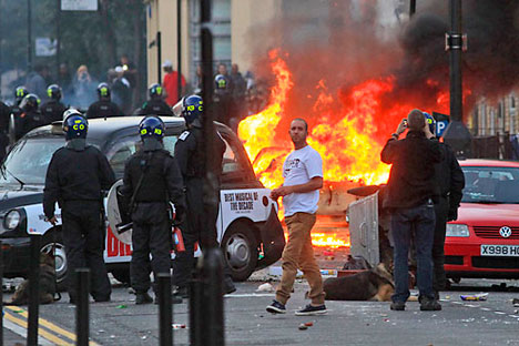 Riots in London.   Source: AP