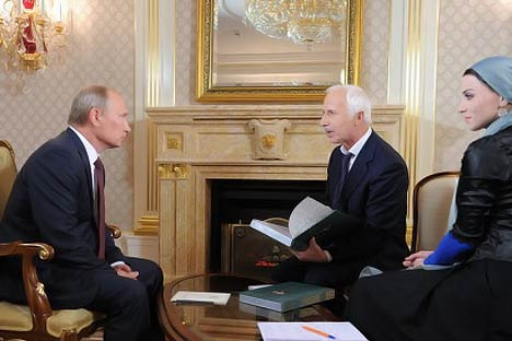 Vladimir Putin gives interview to mark the 60th anniversary of the birth of Akhmad Kadyrov.   Source: RIA Novosti