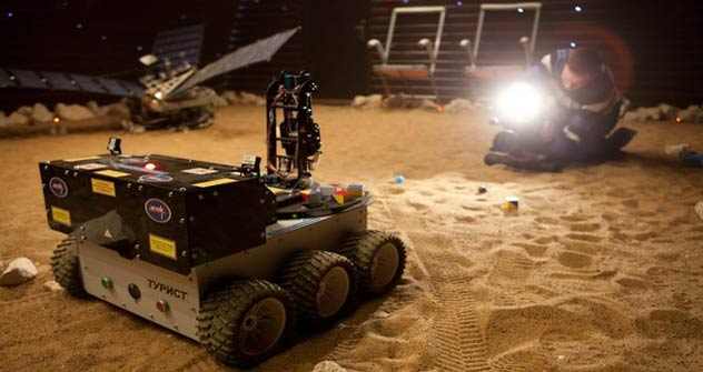"Test of new ""Mars500"" rover model.   Source: IBMP"