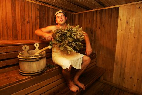"Being ""beaten"" with twigs is an essential part of the banya experience. Source: ITAR-TASS"