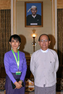 Aung San Suu Kyi, opposition leader, and Thein Sein, Myanmar's new president. Source: AP