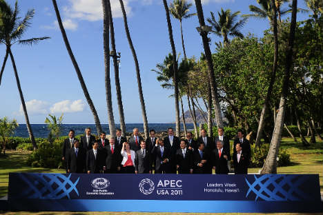 Shifting geographies of power: Leaders of APEC countries at the 2011 summit in Honolulu. Source: AP