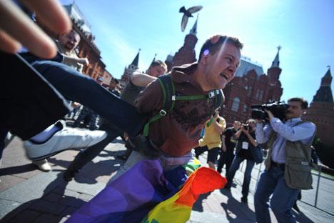 La homosexualidad tiene dificultades para aparecer públicamente en Rusia. Foto de Itar-Tass
