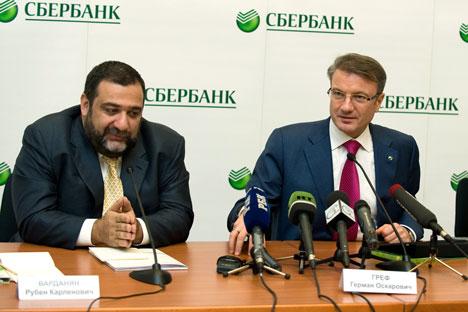 """Ruben Vardanyan """"Troika dialog"""", German Gref """"Sberbank"""" . Source: ITAR-TASS"""