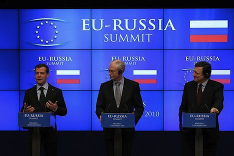 Russland-EU Gipfel 2010: Dmitri Medwedew, Herman Van Rompuy und José Manuel Barroso. Foto: kremlin.ru