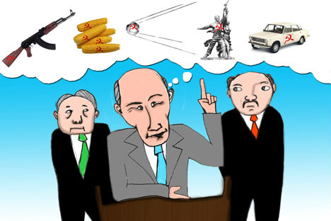 According to some political analysts Putin is pursuing a plan to revive Russia's superpower status under the cover of the creation of the Eurasian Economic Union, out of the CIS countries, similar to the European Union. Drawing by Niyaz Karim
