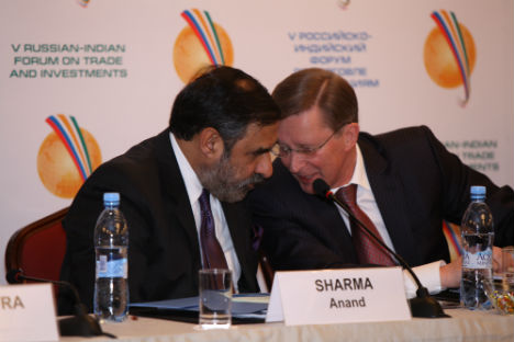 Minister of Commerce, Industry & Textiles Anand Sharma and Russia's Deputy Prime Minister Sergei Ivanov at the 5th Indo-Russian Forum on Trade and Investment, in Moscow, on Thursday.