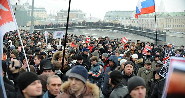 Die Organisatoren der Kundgebung sprechen von etwa 40 000 Teilnehmern, während die Moskauer Polizei die Zahl von höchstens 25 000 nennt. Foto: AFP-EastNews