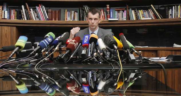 Pressekonferenz, 14. September: Michail Prochorow gelobt den Parteivorsitz. Beim Parteitag am Tag darauf wurde er abgesetzt. Foto: Denis Sinyakov / Reuters