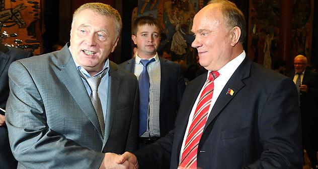 Wladimir Schirinowski (links) und Gennadi Sjuganow sind die stärksten Konkurenten von Putin. Foto: ITAR-TASS