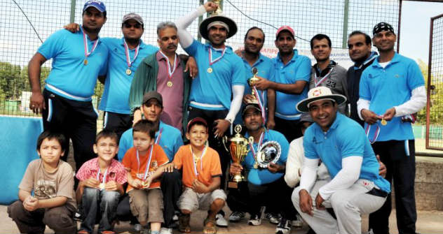 Sumit Huda with his teammates at the MSU stadium after winning the 30 over Cup.