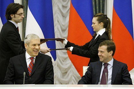 Serbischer Präsident Boris Tadic und russischer Präsident Dmitri Medwedjew. Foto: kremlin.ru