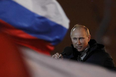 Putin spricht emotional am Wahltag. Foto: Reuters / Vostock Photo