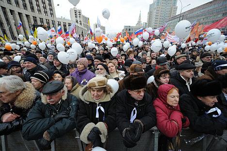 """Die Groß-Demo nächste Woche soll unter einer schlichten Losung ablaufen: """"Keine einzige Stimme für Putin!"""". Foto: ITAR-TASS"""