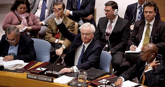 Russlands UN-Botschafter Witali Tschurkin muss viel Kritik einstecken. Foto: AFP