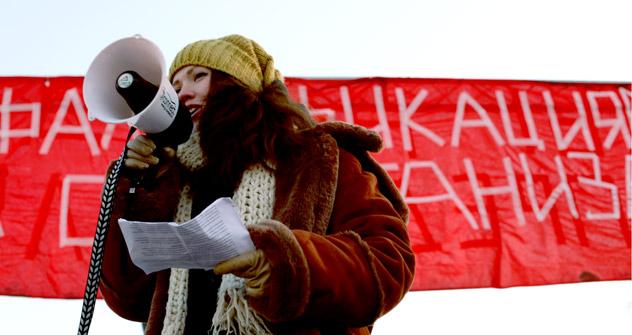 In Sankt-Petersburg wird auch protestiert. Foto: Natasha Romanowa