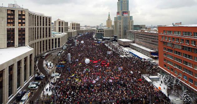 Moskau, 24. Dezember: Fast 100.000 Menschen sammelten sich zur Protestdemo gegen gefälschte Wahlen. Foto:Ilja Warlamow